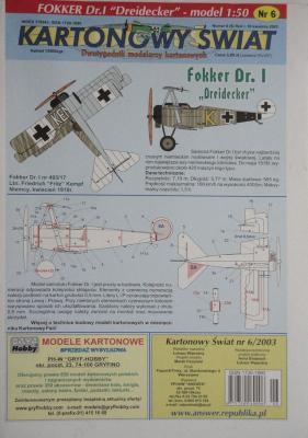 """006\03      *        Fokker Dr.I """"Dreidecker"""" (1:50)      *       KS"""