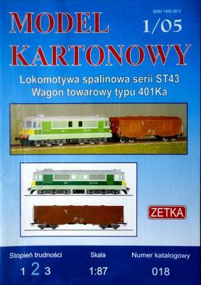 018  *  1\05  *  Lokomotywa spalinowa serii ST43, Wagon towarowy typu 401Ka (1:87)   *  ZETKA
