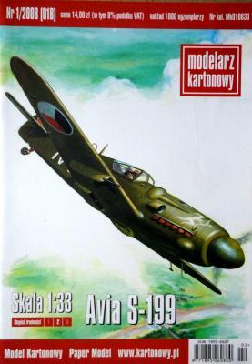 001  *   1\08   *  Avia S-199 (1:33)   *  Modelaz kartonowy
