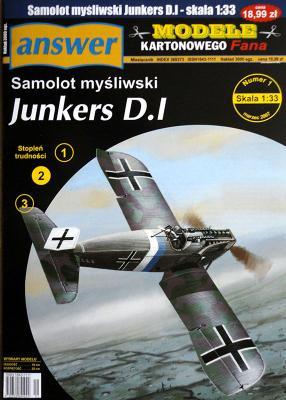 033  * 1\07   *   Samolot Mysliwski Junkers D.I (1:33)    *   ANSWER  MKF