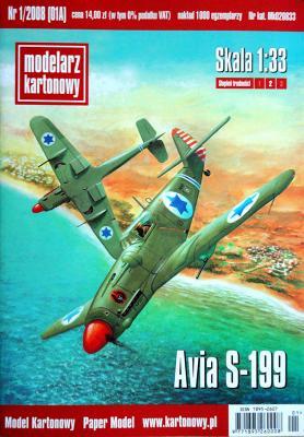 001\08   *   Avia S-199 (1:33)    *   Modelarz Kartonowy