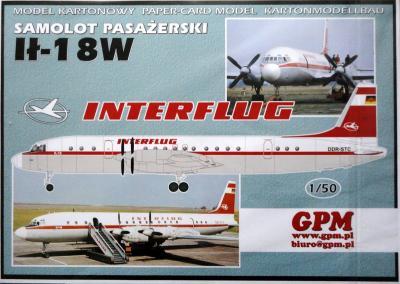 "GP-344b    *   Samolot pasazerski IL-18W ""Interflug"" (1:50)"